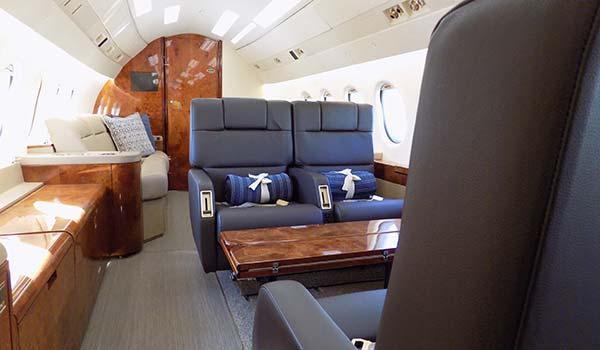Falcon 900 interior charter jet